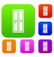 closed wooden door set collection vector image vector image