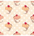 Tile cupcake and polka dots pattern vector image
