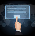 Hand Choose enter password and username on virtual vector image