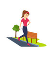 girl is engaged on athletics running in park vector image