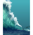 painted backdrop of a giant tsunami wave vector image