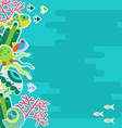 Vertical background with marine animals vector image