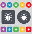 Bug Virus icon sign A set of 12 colored buttons vector image