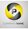 Letter P logo symbol in the colorful circle vector image