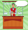 Pop art barista wiping glass in nightclub bar vector image