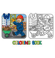 construction worker coloring book alphabet w vector image