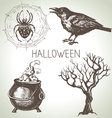 Hand drawn halloween set vector image vector image
