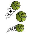 Spiteful tennis ball cartoon character vector image vector image
