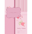 Baby girl arrival card with photo frame and place vector image
