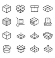 Package line thin icons set Boxes crates vector image