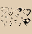 sketch of hand drawn hearts on paper simple and vector image