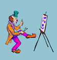 the clown draws on canvas vector image