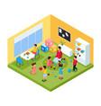 isometric children in kindergarten concept vector image