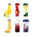bottles with detox fruit beverages set vector image