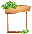 Wooden sign with flowers and leaves vector image