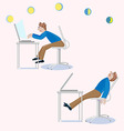 One man sits working the other is tired and sleeps vector image