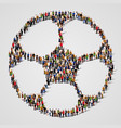 big people crowd in shape of football ball vector image