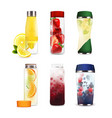 bottles with detox fruit beverages set vector image