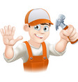 carpenter or builder with hammer vector image