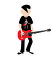 emo independent guitar player isolated on white vector image