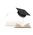 Graduation cap on white background with a book vector image