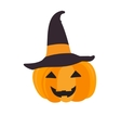 Halloween pumpkin with black witch hat Abstract vector image