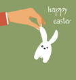 happy easter hand holding easter rabbit vector image