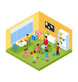 isometric children in kindergarten concept vector image
