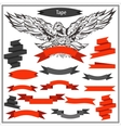 Set eagle ribbons in black and red color vector image