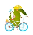 Cartoon green funny crocodile in helmet with vector image