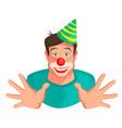 young fun man head clown vector image