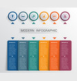 infographics design template color buttons and 6 vector image