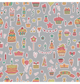 Seamless pattern with Birthday elements on grey vector image