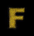 gold dust font type letter f vector image