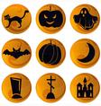 Halloween icons on orange vector image