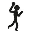 handball player man black vector image