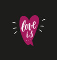 love is hand written phrase with decor elements vector image