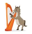 Musical animals horse harp vector image