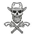 pixel art cowboy skull vector image