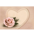 Retro greeting card with pink rose and heart vector image