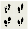 traces of feet and shoes vector image