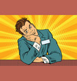businessman manager concierge sits and dreams vector image