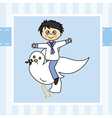Boy flying with a dove vector image vector image