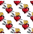 Seamless pattern of valentine hearts and arrows vector image vector image