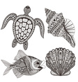 Zentangle stylized black sea shells fish and vector image