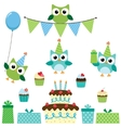 Party owls blue set vector image vector image