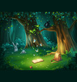 a forest glade with owl and vector image