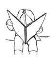 baby girl reading a book editable vector image