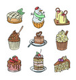 cakes and cupcakes piece of cheesecake for vector image