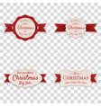 christmas banners with red ribbons collection vector image